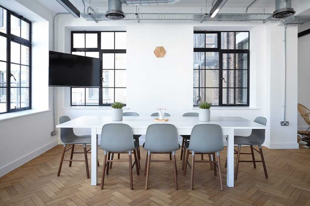 office Move, white chairs and tables