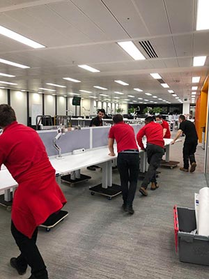 Team working in relocating an office